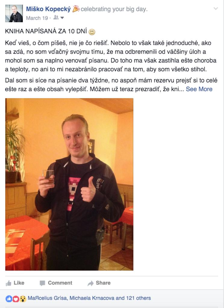 Michal Kopecký - obrázok z facebooku príťažlivosť Príťažlivosť: Prečo som sa rozhodol napísať vlastnú knihu? Sn  mka obrazovky 2016 05 05 o 15