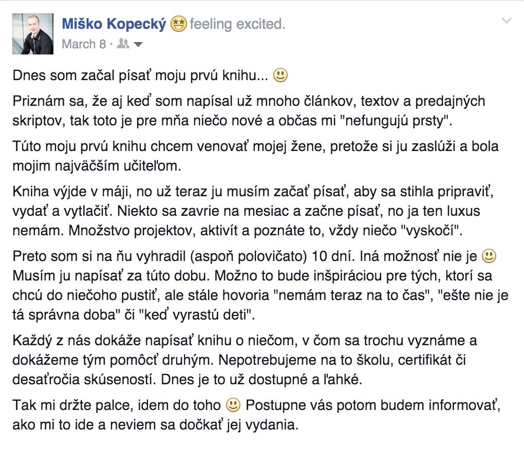 Michal Kopecký - Kniha príťažlivosť  príťažlivosť Príťažlivosť: Prečo som sa rozhodol napísať vlastnú knihu? Sn  mka obrazovky 2016 05 05 o 15
